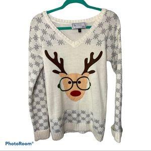 I heart Derek white snow flake rain dear sweater